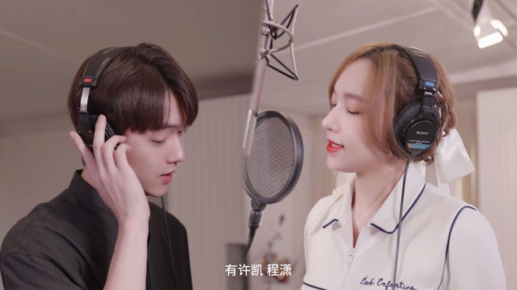 Main leads Xu Kai (Left) and Cheng Xiao (Right) in the making-of video.